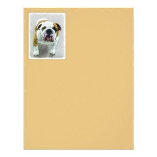 Bulldog Painting - Cute Original Dog Art Letterhead