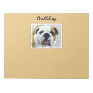 Bulldog Painting - Cute Original Dog Art Notepad