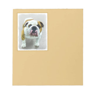 Bulldog Painting - Cute Original Dog Art Notepad