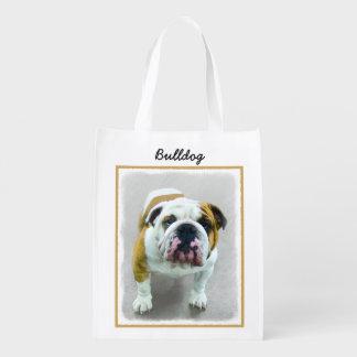 Bulldog Painting - Cute Original Dog Art Reusable Grocery Bag