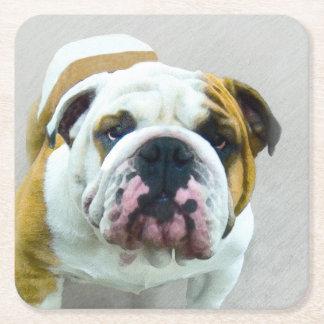Bulldog Painting - Cute Original Dog Art Square Paper Coaster