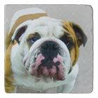 Bulldog Painting - Cute Original Dog Art Trivet