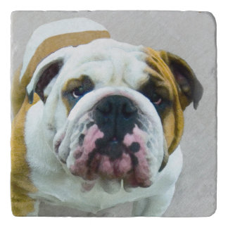Bulldog Painting - Cute Original Dog Art Trivet