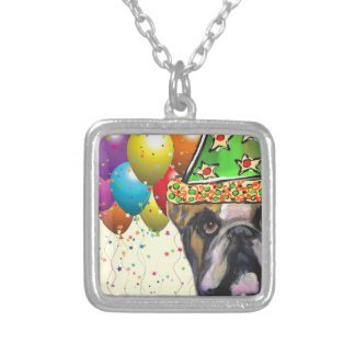Bulldog Party Dog Silver Plated Necklace