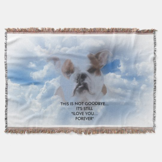 Bulldog Pet with Heaven Clouds Sympathy Throw