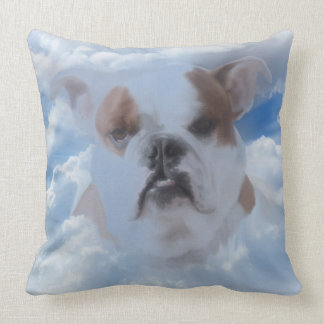 Bulldog Pet with Heaven Clouds Sympathy Throw Pillow