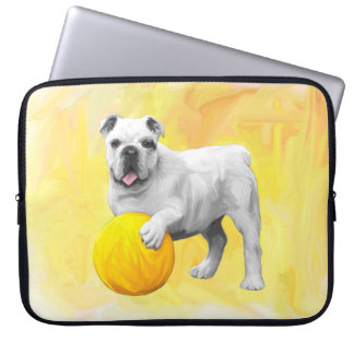 Bulldog Playing with Ball Watercolor Art Painting Laptop Sleeves