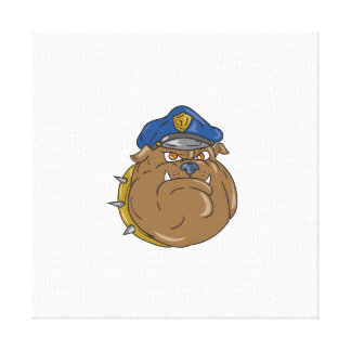 Bulldog Policeman Head Cartoon Canvas Print