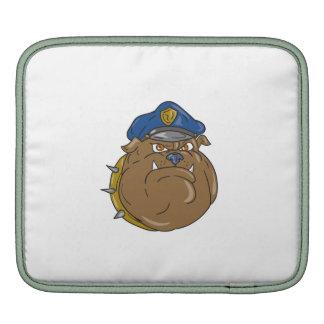 Bulldog Policeman Head Cartoon iPad Sleeve