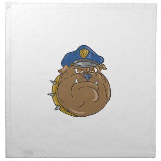 Bulldog Policeman Head Cartoon Napkin
