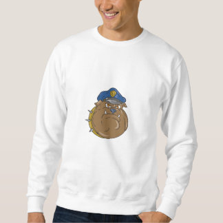 Bulldog Policeman Head Cartoon Sweatshirt