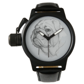 Bulldog Portrait Hand-Drawn Watch