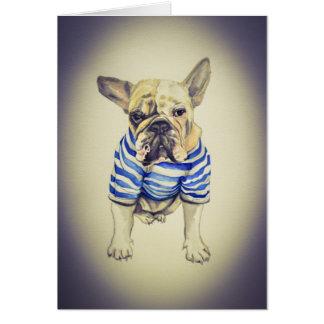 Bulldog Portrait in Purple Haze Card