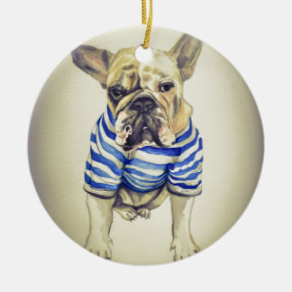 Bulldog Portrait in Purple Haze Ceramic Ornament