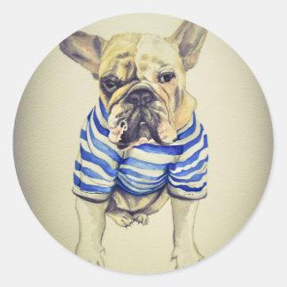 Bulldog Portrait in Purple Haze Classic Round Sticker