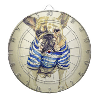 Bulldog Portrait in Purple Haze Dartboard