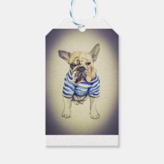 Bulldog Portrait in Purple Haze Gift Tags