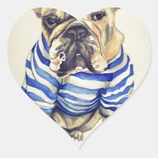Bulldog Portrait in Purple Haze Heart Sticker