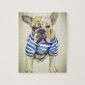 Bulldog Portrait in Purple Haze Jigsaw Puzzle