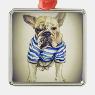 Bulldog Portrait in Purple Haze Metal Ornament