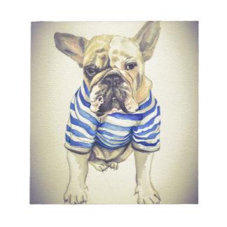 Bulldog Portrait in Purple Haze Notepad