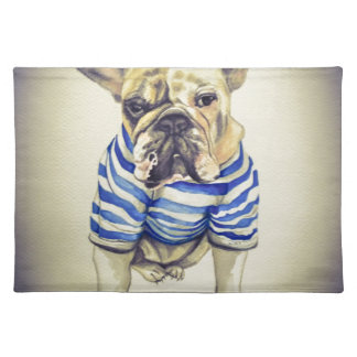 Bulldog Portrait in Purple Haze Placemat