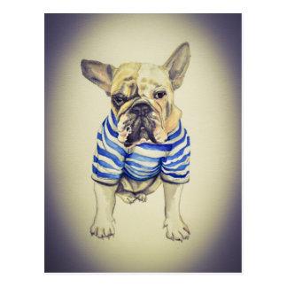 Bulldog Portrait in Purple Haze Postcard