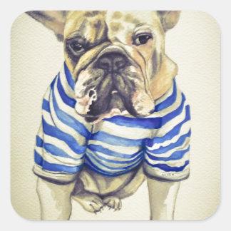 Bulldog Portrait in Purple Haze Square Sticker
