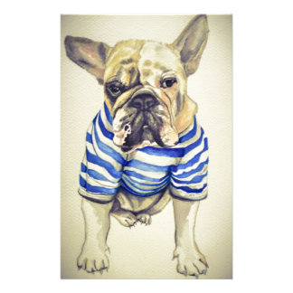 Bulldog Portrait in Purple Haze Stationery