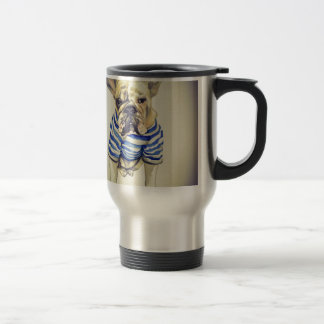 Bulldog Portrait in Purple Haze Travel Mug