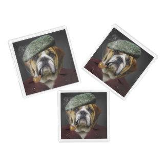 Bulldog portrait smoking a pipe acrylic tray