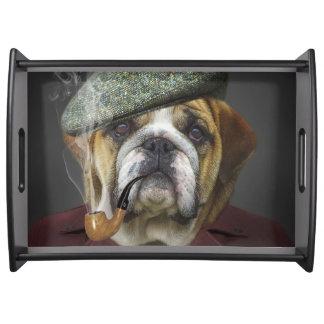 Bulldog portrait smoking a pipe serving tray