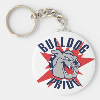 Bulldog Pride Basic Round Button Keychain