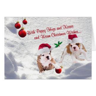 Bulldog Puppies Christmas Snow Scene Wishes Card