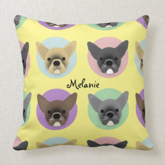 Bulldog Puppies on Pastel Circles Throw Pillow