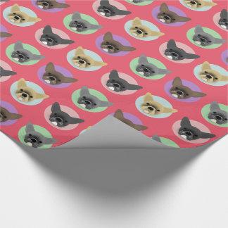 Bulldog Puppies on Pastel Circles Wrapping Paper