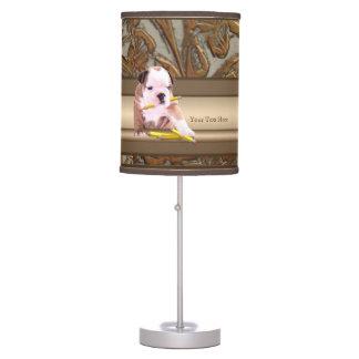Bulldog Puppy #2 Ornate Gold Design 2nd Version Table Lamp