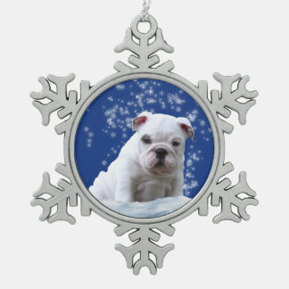 Bulldog Puppy Christmas Pewter Snowflake Ornament