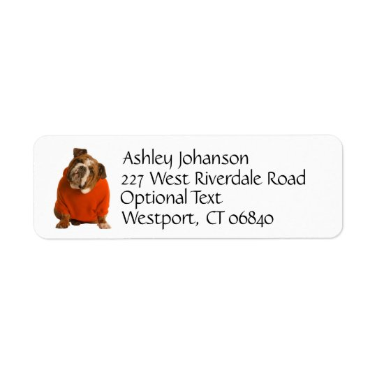Bulldog Puppy Dog Return Address Name Label