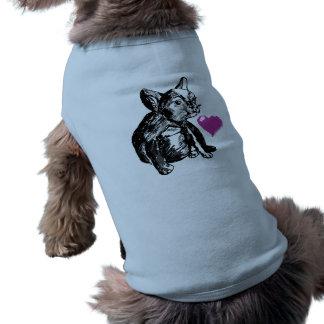Bulldog Puppy Drawing Heart  Ribbed Tank Top Dog Tee Shirt