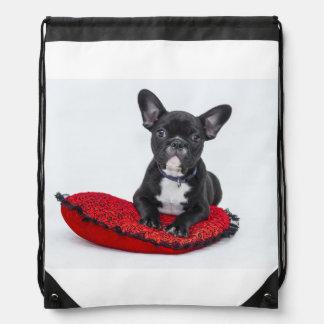 Bulldog Puppy Drawstring Bag