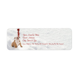Bulldog Puppy Let It Snow!  Return Address Labels