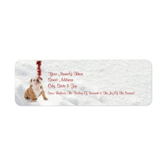 Bulldog Puppy Let It Snow!  Return Address Labels