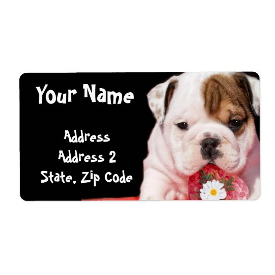 Bulldog puppy shipping Labels