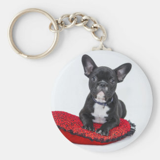 Bulldog puppy sitting on red heart shaped cushion basic round button keychain