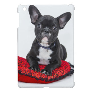 Bulldog puppy sitting on red heart shaped cushion iPad mini case