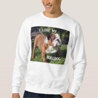 bulldog red and white love w pic sweatshirt