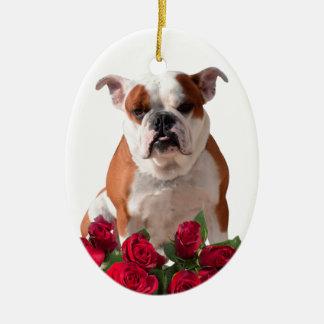 Bulldog Red Roses Bloom Birthday Anniversary Ceramic Oval Ornament