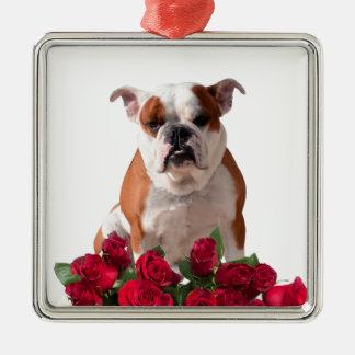 Bulldog Red Roses Bloom Birthday Anniversary Silver-Colored Square Ornament