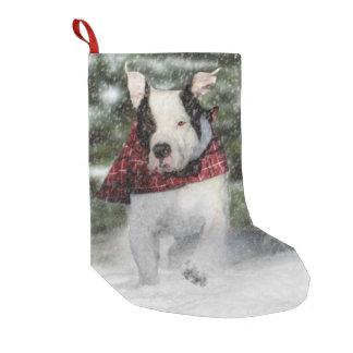 Bulldog Rescue Pup Dashing through the Snow Small Christmas Stocking